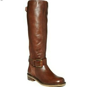 Lucky Brand Brown Leather Tall Riding Aida Boots